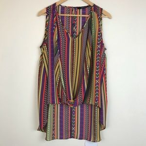 Ark &Co Multicolored Tribal Print High-Low Blouse